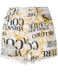 Versace Jeans Couture Logo Baroque Print Shorts - White