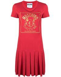 Moschino Платье-футболка С Вышитым Логотипом - Красный