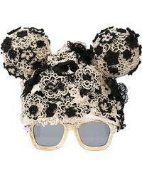Kuboraum Floral Lace Shaped Sunglasses - Black