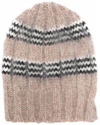 Roberto Collina Two-tone Knitted Beanie - Grey
