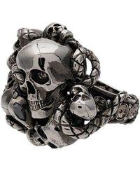 Alexander McQueen - Silver Chunky Skull Snake Band Ring - Lyst
