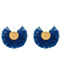 Katerina Makriyianni 24k Yellow Gold Plated Fan Earrings - Blue