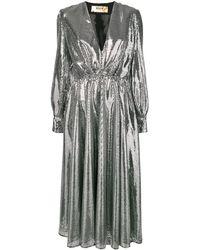 MSGM Платье С Пайетками И Поясом - Металлик