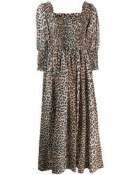 c877d105 Ganni Dufort Leopard-print Stretch-silk Maxi Dress in Black - Lyst