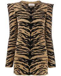 Laneus Tiger Print Shimmer Top - Metallic