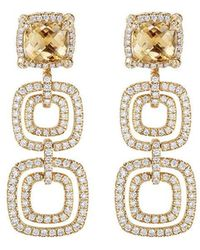 David Yurman - 18kt Yellow Gold Châtelaine Citrine And Diamond Drop Earrings - Lyst
