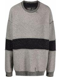 Ziggy Chen Stripe Detail Cashmere Jumper - Grey