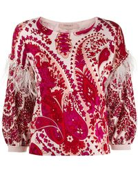 Twin Set Printed Feather Trim Jumper - Red
