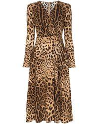 Dolce & Gabbana - Расклешенное Платье С Леопардовым Принтом - Lyst