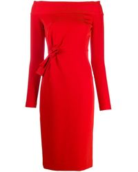 P.A.R.O.S.H. Off-shoulder Fitted Dress - Red