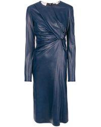 Stella McCartney - Vestido midi con nudo en el frente - Lyst
