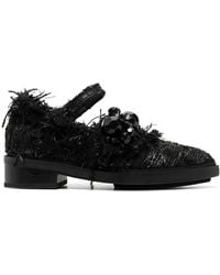 Simone Rocha Faux-pearl Pointed-toe Brogues - Black