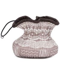 Pleats Please Issey Miyake Printed Pleated Drawstring Pouch - Brown