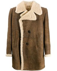 Neil Barrett Shearling Double-breasted Coat - Brown