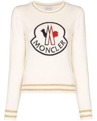 Moncler Trui Met Geborduurd Logo - Wit