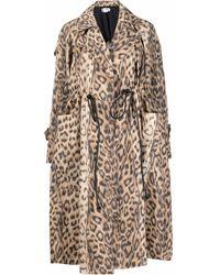Victoria Beckham Leopard Print Trench Coat - Natural