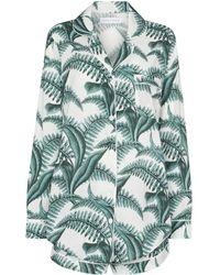 Desmond & Dempsey Pijama con estampado de helechos - Blanco