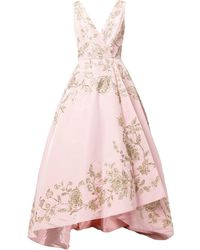 Oscar de la Renta フローラル シルクイブニングドレス - ピンク