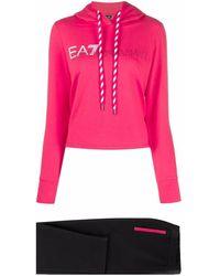 EA7 Logo-print Tracksuit Set - Pink