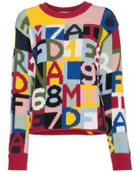 FRAME - Letter Intarsia Cotton Blend Sweater - Lyst