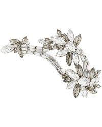 Alberta Ferretti Floral Rhinestone Brooch - Metallic
