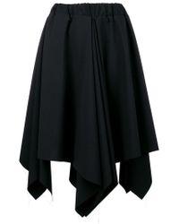 Moohong Asymmetrical Pleated Skirt - Black