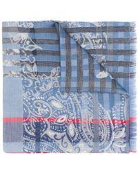 Etro Paisley And Plaid-print Scarf - Blue