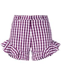 House of Holland - Gingham Ruffle Shorts - Lyst