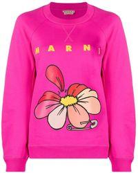Marni フローラル スウェットシャツ - ピンク