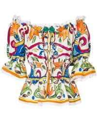 Dolce & Gabbana | Majolica Off The Shoulder Blouse | Lyst