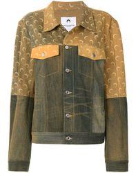 Marine Serre Джинсовая Куртка С Логотипом И Эффектом Потертости - Зеленый