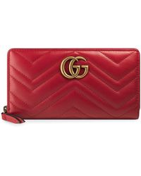 Gucci Кошелек GG Marmont С Круговой Молнией - Красный