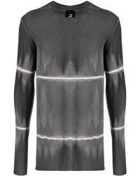 Thom Krom Camiseta a rayas con motivo tie-dye - Negro