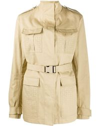 Off-White c/o Virgil Abloh Perforated Short Trench Coat - Natural