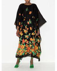Taller Marmo Vestido en jacquard Giardino midi - Negro