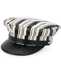 Manokhi - Striped Embossed Baker Boy Hat - Lyst