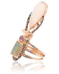 Daniela Villegas 18 K Rose Goud Aurraal Opaal En Saffierring - Metallic