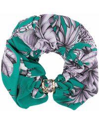 Pinko Foliage-print Hair Scrunchie - Green