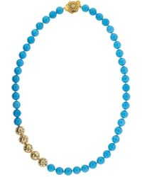 Buddha Mama 20kt Yellow Gold And Turquoise Necklace - Multicolor