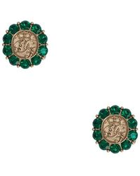 Dolce & Gabbana Запонки С Логотипом Dg И Кристаллами - Зеленый