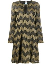 M Missoni Chevron-print Flared Dress - Metallic