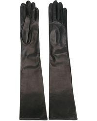Manokhi レザーロング手袋 - グレー