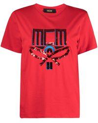 MCM スパンコール ロゴ Tシャツ - レッド