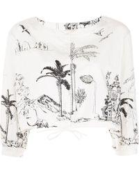 Le Sirenuse Palm Tree-pint Cropped Blouse - White