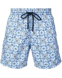 Vilebrequin Geometric Embroidery Swim Shorts - Blue