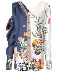 Monse Floral asymmetric shirt - Blu