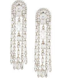 Alberta Ferretti Crystal Fringe Earrings - White
