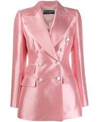 Dolce & Gabbana Двубортный Блейзер - Розовый