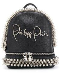 Philipp Plein Studded Logo Plaque Backpack - Black
