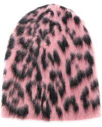 Laneus Animal Pattern Beanie - Pink